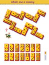 Logic puzzle game for children and adults. Which domino piece from set is missing on the picture? Kids brain teaser book. Play Royalty Free Stock Photo