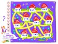 Logic puzzle game for little children. Math labyrinth for kids school textbook. Solved examples, draw path to connect mushrooms.