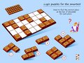 Logic puzzle game for smartest. Need to find the correct place at the bar of chocolate for each piece. Royalty Free Stock Photo