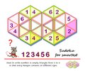 Logic puzzle game for the smartest. Need to write numbers in empty triangles from 1 to 6 so that every hexagon contains six Royalty Free Stock Photo
