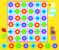 Logic puzzle with labyrinth - need to find a way from ladybird to the sun respecting regularity and join flowers by vertical Royalty Free Stock Photo