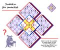 Logic Sudoku puzzle game for children and adults. Write numbers in empty places from1 to 5. Royalty Free Stock Photo