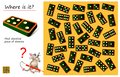 Logical puzzle game for children and adults. Need to find place where is the same piece of domino. Royalty Free Stock Photo