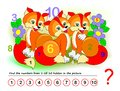 Logical puzzle game for kids. Math exercise for little children. Find hidden numbers from 1 till 10.