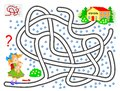 Logical puzzle game with labyrinth for children. Help the little girl find the way till the school.