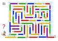 Logical puzzle game with labyrinth for children. Help mouse draw way from beginning to the end on square paper.
