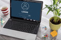 Login concept on a laptop