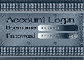 Login form on metal plate dark with account Stock Image