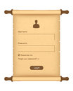 Login form on parchment roll Royalty Free Stock Photography