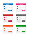 Login forms collection of in various colors Stock Images