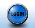 Login icon circular glossy button blue Stock Image