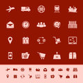 Logistic color icons on red background Stock Photo
