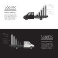 Logistic concept flat banners car cargo delivery van vector template. vector abstract isolated illustration template.