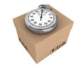 Logistic concept. Stopwatch and box Stock Image
