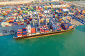 Logistic container shipping boat at shipping yard Royalty Free Stock Photo