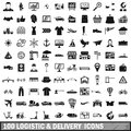 100 logistic and delivery icons set, simple style
