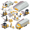 logistic and delivery isometric icons