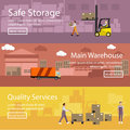Logistic and delivery service concept banner. Warehouse interior. Vector illustration in flat style design Royalty Free Stock Photo