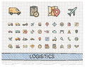 Logistic hand drawing line icons Royalty Free Stock Photo