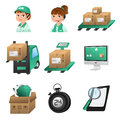 Logistic icons a vector illustration of icon sets Royalty Free Stock Photos