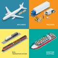 Logistic realistic icons set of air cargo, trucking, rail transportation Royalty Free Stock Photo