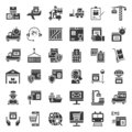 Logistic and shipping business icon set, solid style Royalty Free Stock Photo