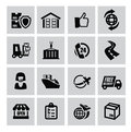 Logistic and shipping icon vector black set Royalty Free Stock Images