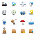 Logistic and shipping icons set color Royalty Free Stock Photo