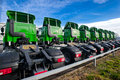 Logistic trucks parked lined up Royalty Free Stock Photography