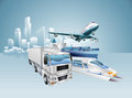 Logistics city business concept with delivery transport vehicles and in the background Royalty Free Stock Image
