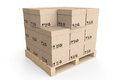 Logistics concept. Cardboard boxes on wooden palette Royalty Free Stock Photo