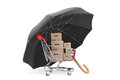 Logistics concept shopping cart with boxes being protected by a an umbrella on white background Royalty Free Stock Image
