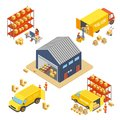 Logistics and delivery isometric concept set with warehouse building, workers with delivery boxes and cargo transport