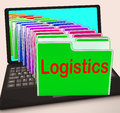 Logistics folders laptop mean planning organization and coordina meaning coordination Royalty Free Stock Image