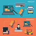 Logistics and freight shipment flowchart set