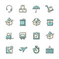 Logistics icons hand drawn blue and beige file format is eps Royalty Free Stock Photography