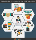 Logistics infographic elements transport logistics in the process manager with icons and Royalty Free Stock Images