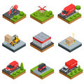Logistics isometric icons set of different transportation distribution vehicles and delivery elements vector