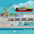 Logistics in port shipping infographics vector template