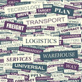 Logistics seamless pattern concept related words in tag cloud conceptual info text graphic word collage Stock Images