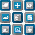 Logistics shipping icon design set and related shadow Royalty Free Stock Photo