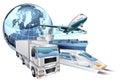 Logistics transport globe concept Royalty Free Stock Photo