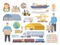 Logistics vector flat icons
