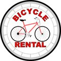 Logo bicycle rental bike in red gray design Stock Photography
