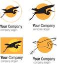 Logo Bird silhouette and sun