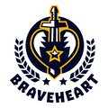 Logo brave heart. The sword piercing the heart, surrounded by a wreath. The emblem on the Middle Ages and the war