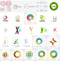 Logo collection geometric business icon set abstract company branding identity designe lements Stock Photography