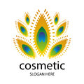 Logo for cosmetics in the form of a peacock feathe vector feather Stock Photography