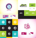 Logo design elements icon set vector company element template house real estate home villa residential circle camera photography Stock Image