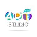 Logo design template for kids art studio, gallery, school of the arts. Creative art logo isolated on white. Vector illustration.